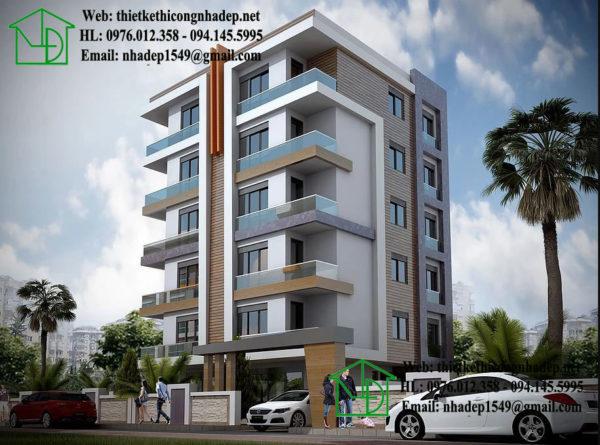 Thiết kế khách sạn hiện đại, khách sạn mini đẹp NDTKKS3