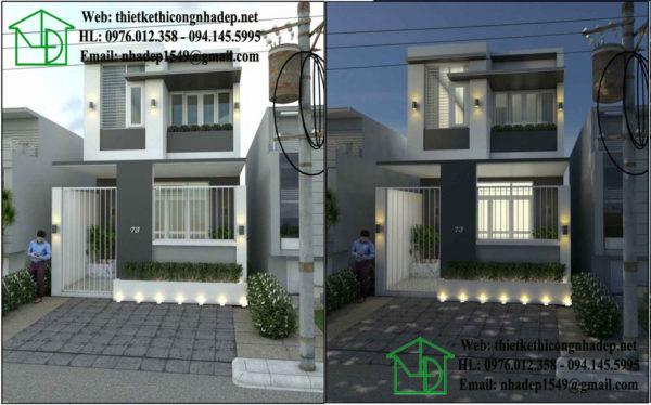 Thiết kế nhà phố 2 tầng, mẫu nhà phố 2 tầng 5x15m