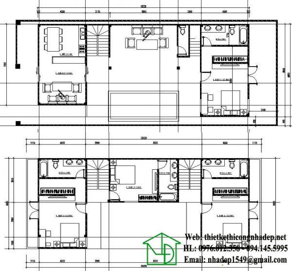Mặt bằng nội thất biệt thự 2 tầng mái lệch NDBT2T23