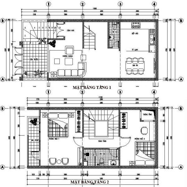 Mặt bằng nội thất nhà phố 5 tầng NDNP5T1