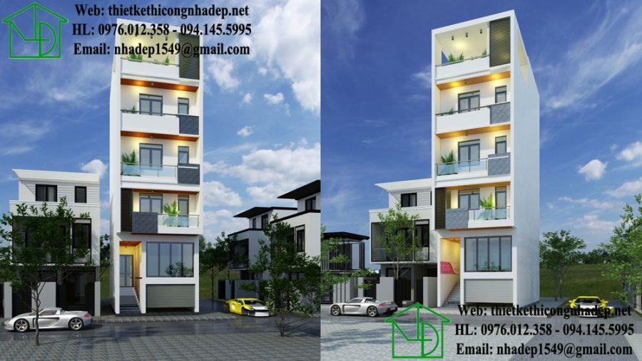 nhà phố mặt tiền 5m 5 tầng đẹp NDNP5T1