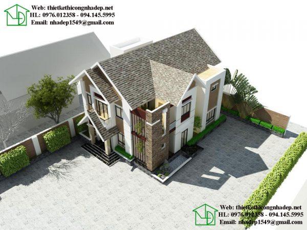 Phối cảnh tổng thể biệt thự 2 tầng hiện đại NDBT2T22