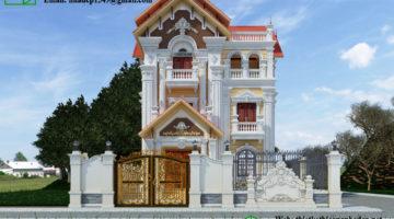 Biệt thự cổ điển 3 tầng, thiết kế biệt thự pháp cổ NDBTCDP5