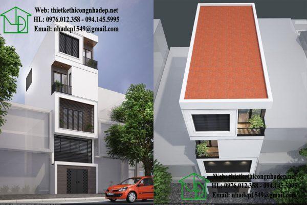 Thiết kế nhà phố có gác lửng đẹp NDNP4T4