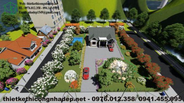 Tổng thể biệt thự vườn 1 tầng hiện đại NDBT1T19
