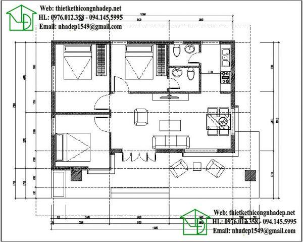 Mặt bằng bố trí nội thất nhà cấp 4 mái bằng NDNC436