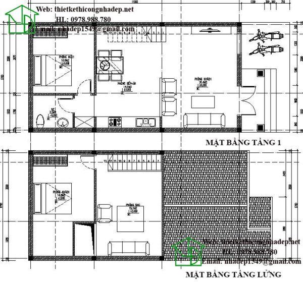 Mặt bằng nội thất nhà cấp 4 gác lửng đẹp NDNC437