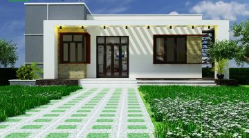 Mẫu nhà cấp 4 mái bằng, mẫu nhà mái bằng đẹp NDNC436