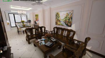 Thiết kế nội thất tân cổ điển, nội thất phòng khách tân cổ điển NDNTPK2