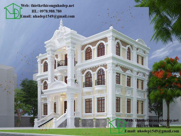 Biệt thự 3 tầng cổ điển, thiết kế biệt thự cổ điển tại Hưng Yên NDBTCDP8