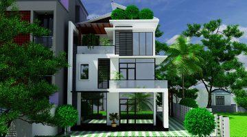 Biệt thự 3 tầng mái lệch, mẫu nhà biệt thự 3 tầng đẹp NDBT3T9