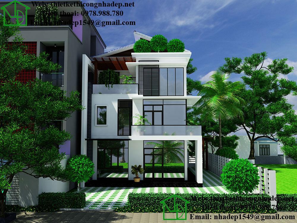 Biệt thự 3 tầng mái lệch NDBT3T9