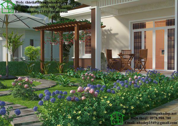 Biệt thự nhà vườn 1 tầng đẹp NDBT1T28