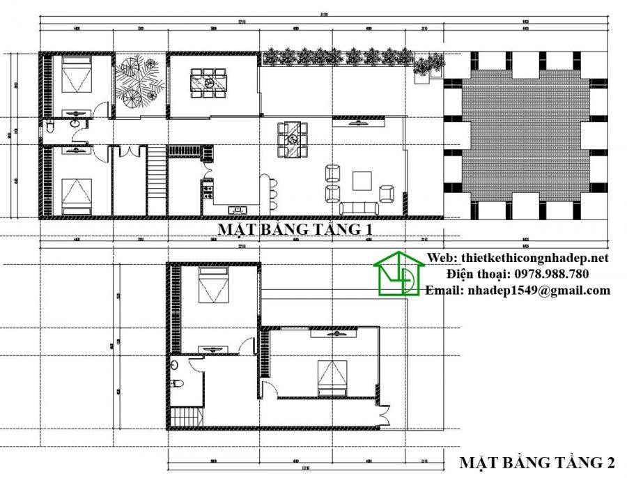 Mặt bằng biệt thự 2 tầng hiện đại NDBT2T26