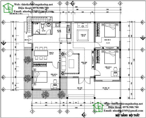 Mặt bằng nội thất biệt thự 1 tầng mái bằng NDBT1T29