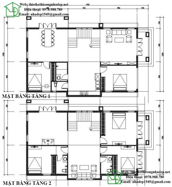 Mặt bằng nội thất biệt thự 2 tầng mái thái NDBT2T27