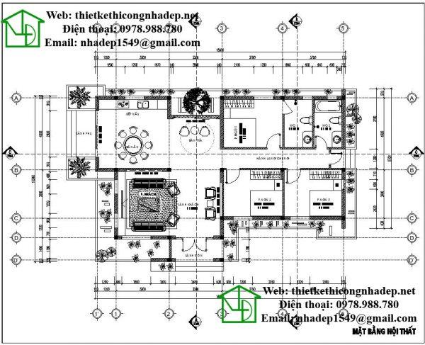 Mặt bằng nội thất biệt thự vườn 1 tầng NDBT1T25