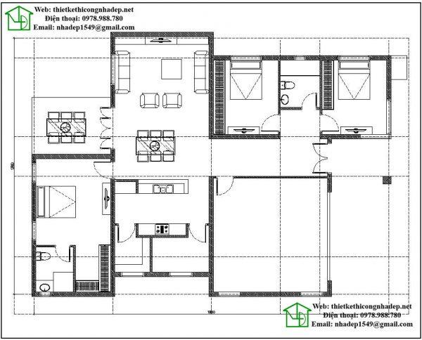 Mặt bằng nội thất nhà biệt thự 1 tầng đẹp NDBT1T27