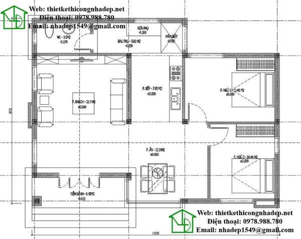 Mặt bằng nội thất nhà cấp 4 mái thái NDNC438