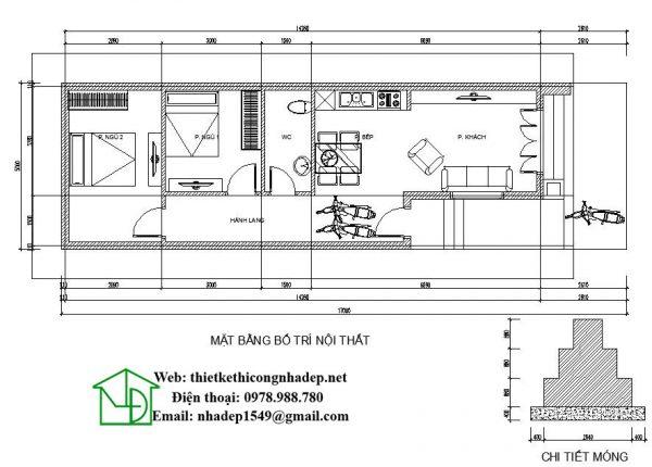 Mặt bằng nội thất nhà cấp 4 mái tôn NDNC440