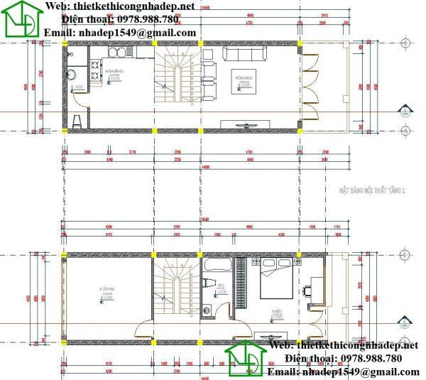 Mặt bằng nội thất tầng 1, tầng 2 NDNP3T10