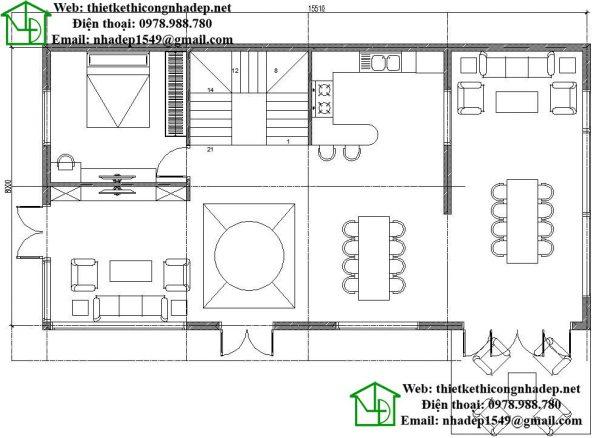 Mặt bằng tầng 1 biệt thự 3 tầng NDBT3T9