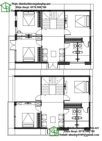 Mặt bằng tầng 2 và tầng 3 biệt thự 3 tầng NDBT3T9