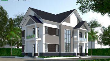 Mẫu biệt thự 2 tầng mái thái, thiết kế biệt thự 2 tầng đẹp NDBT2T27