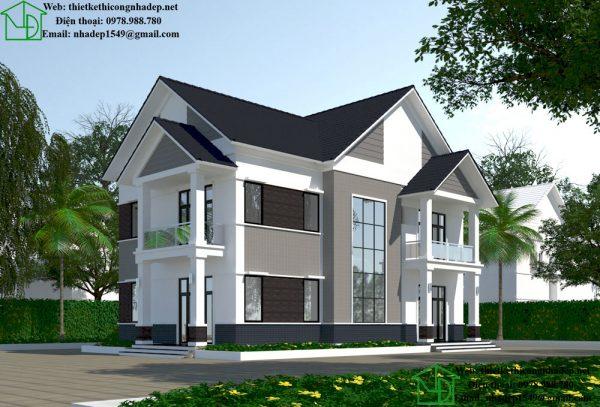 Mẫu biệt thự 2 tầng mái thái NDBT2T27