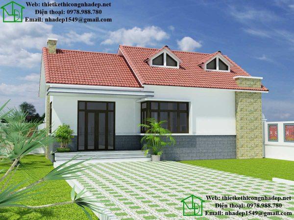 Mẫu nhà cấp 4 mái thái đẹp, biệt thự vườn 1 tầng tại Thái Bình NDNC438