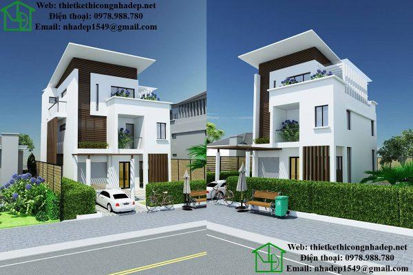 Mẫu thiết kế biệt thự 3 tầng NDBT3T10