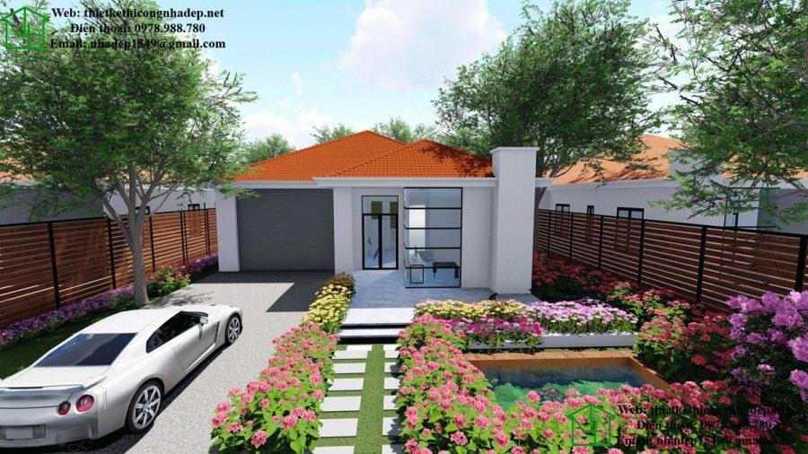 Nhà biệt thự 1 tầng đẹp, thiết kế biệt thự 1 tầng đẹp mái thái NDBT1T27
