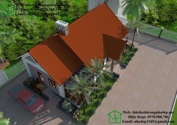 Phối cảnh tổng thể biệt thự vườn 1 tầng NDBT1T24