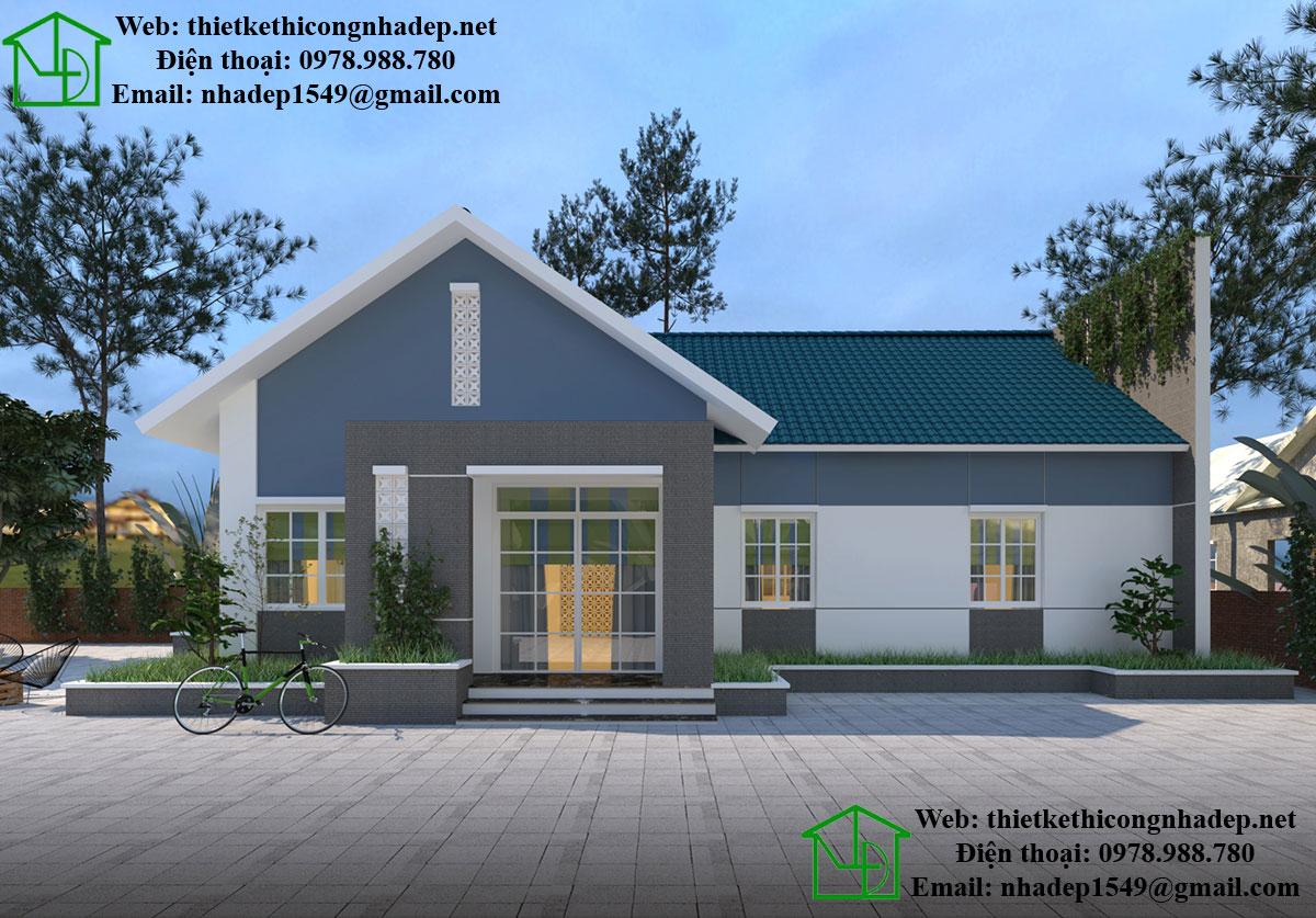 Thiết kế biệt thự 1 tầng đẹp mái thái NDBT1T25
