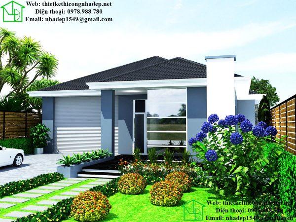 Thiết kế biệt thự 1 tầng đẹp mái thái NDBT1T27