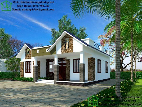 Thiết kế nhà mái bằng 1 tầng, nhà mái bằng 1 tầng đẹp NDBT1T29