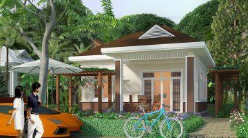 Thiết kế nhà mái thái 1 tầng, mẫu biệt thự 1 tầng mái thái NDBT1T28