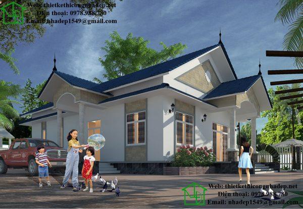 Thiết kế nhà vườn đẹp 1 tầng NDBT1T23