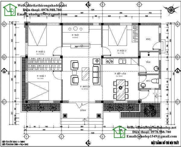 Mặt bằng nội thất biệt thự 1 tầng có 3 phòng ngủ NDBT1T31