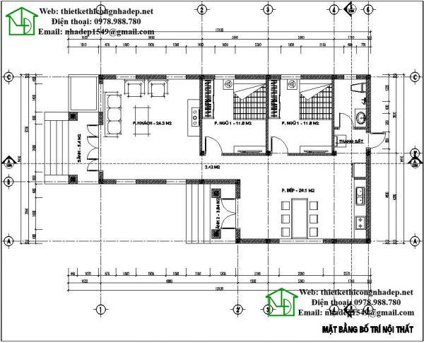 Mặt bằng nội thất biệt thự nhà vườn 1 tầng mái thái NDBT1T29