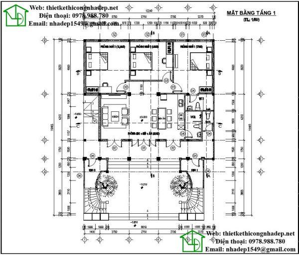 Mặt bằng nội thất tầng 1 NDNTH11