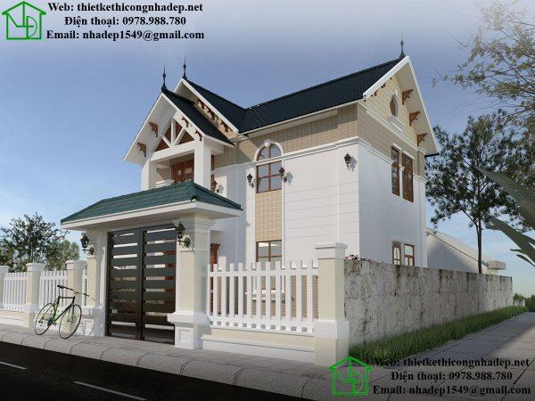 Mẫu nhà 2 tầng mái thái đẹp NDBT2T29