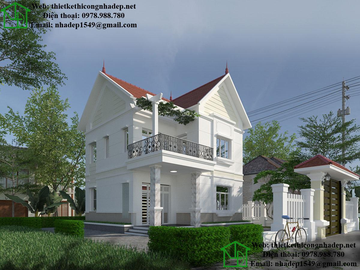 Mẫu nhà 2 tầng mái thái đẹp NDBT2T30