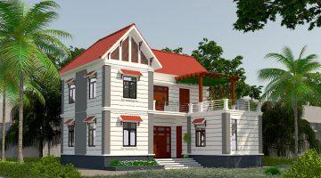 Mẫu nhà mái thái đẹp 2 tầng, biệt thự 2 tầng tại Thái Bình NDMN2T4