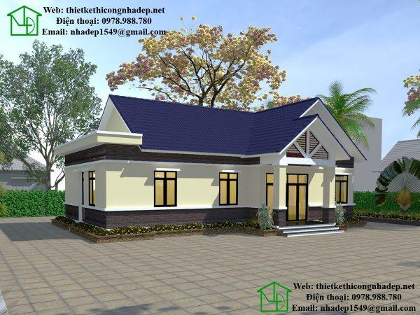 Thiết kế biệt thự 1 tầng đẹp NDBT1T33