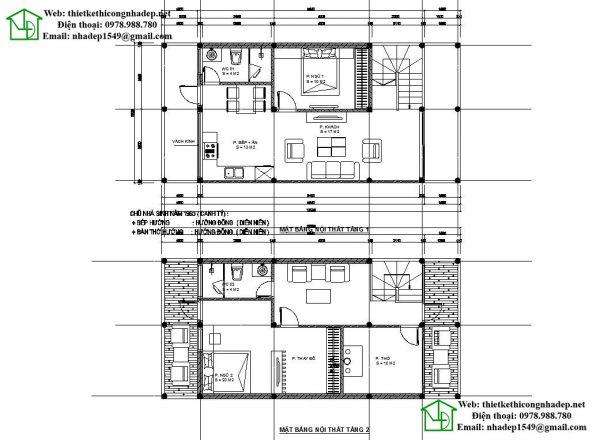 Mặt bằng bố trí nội thất mẫu thiết kế nhà 2 tầng đơn giản NDMN2T5