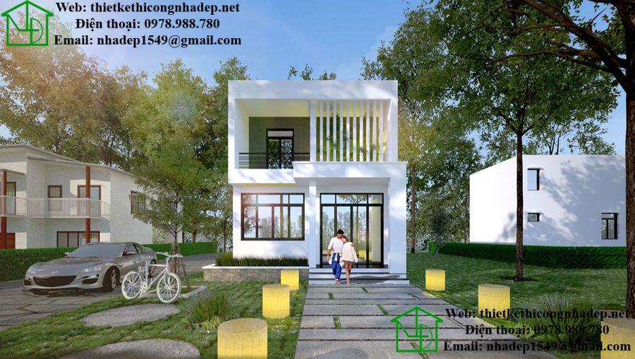 Mẫu biệt thự 2 tầng mini, nhà biệt thự mini 90m2 NDBT2T31
