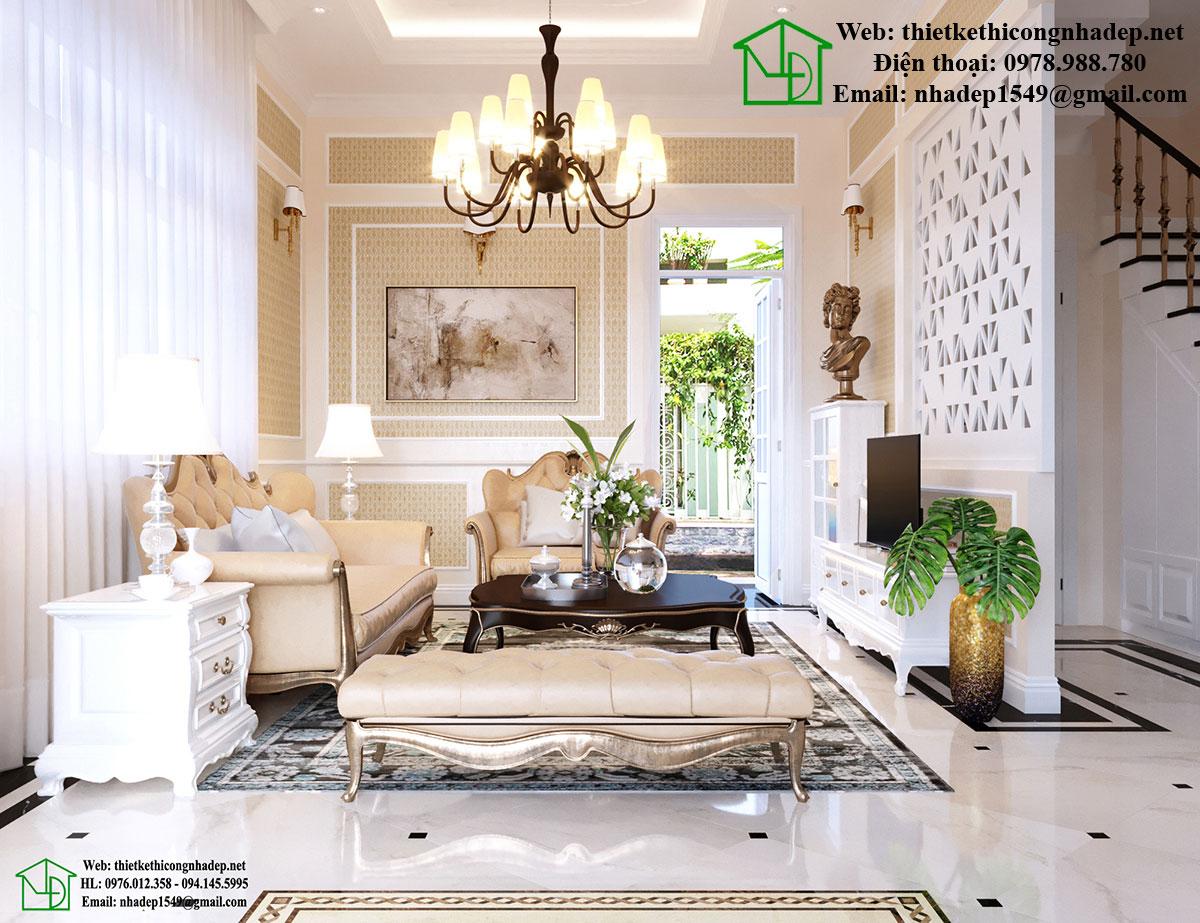 Thiết kế nội thất phòng khách tân cổ điển NDNTBT1