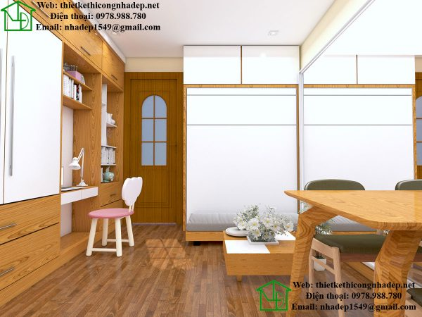 Bố trí căn hộ 15m2 NDNTCC8
