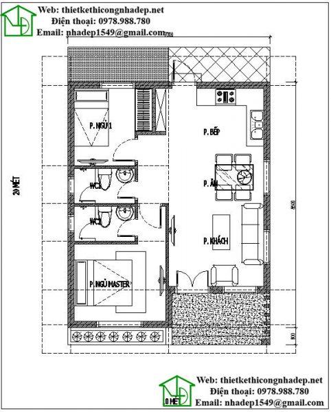 Mặt bằng nội thất mẫu nhà đẹp giá rẻ NDNC444